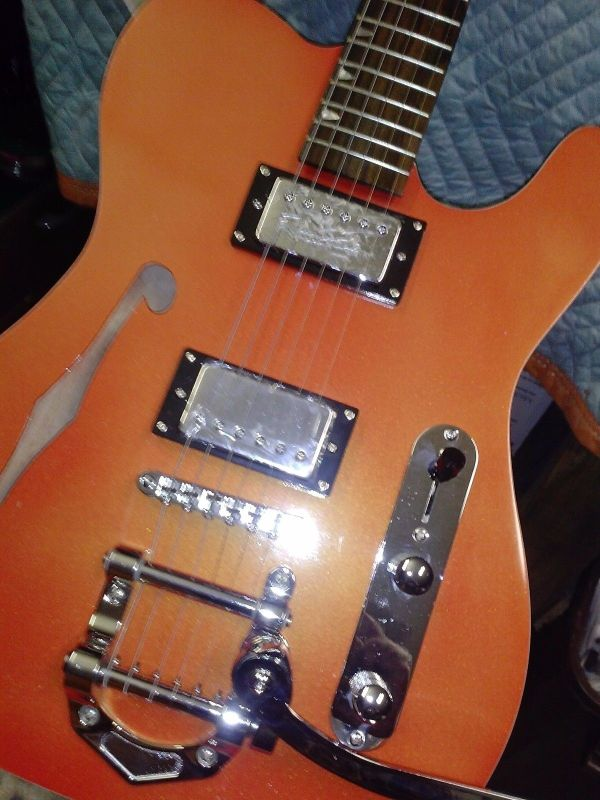 Maple Face Fiesta Red with gold pearl flake guitar body