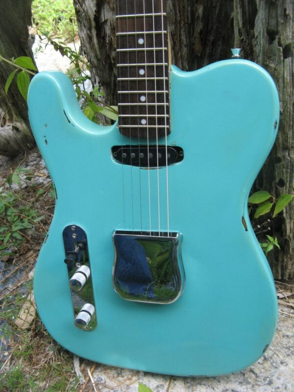 body close-up of Sonic Blue Relic Telecaster