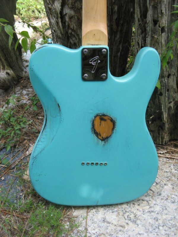 body back close up of Sonic Blue Relic Telecaster