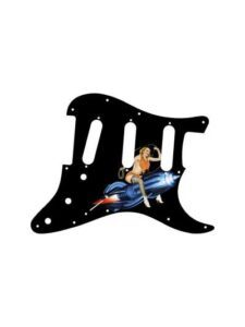 Blonde pinup girl Karen sitting on blue rocket with a lasso on a black Stratocaster pickguard