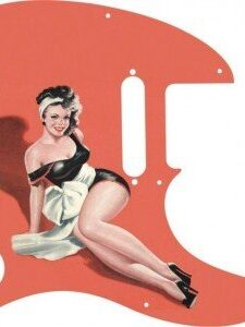 Brunette pinup girl Doris wearing black lingerie with large white bow at waist